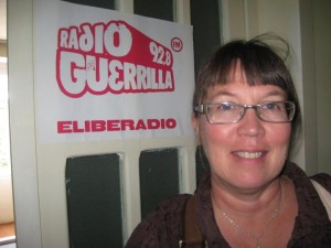Visiting a radio station in Kluj, Romania, 2009.